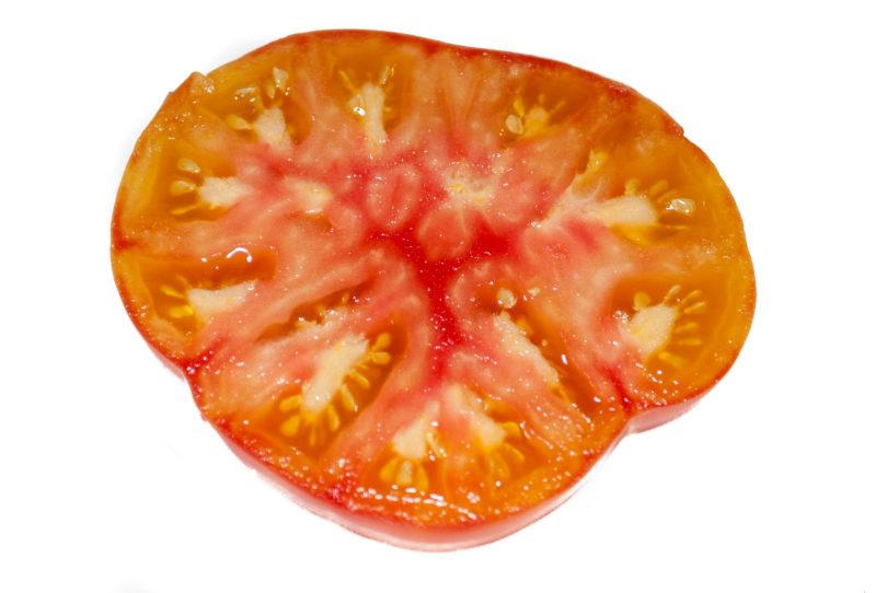 Die Tomatensorte ist saftig, aromatisch und schön mehrfarbig gefärbt